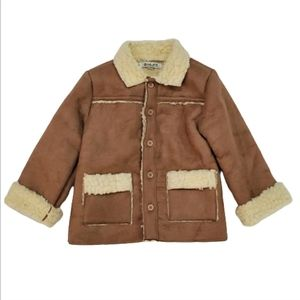 Tan Suede Sherpa Lined Jacket by MLIFE, 24 mo